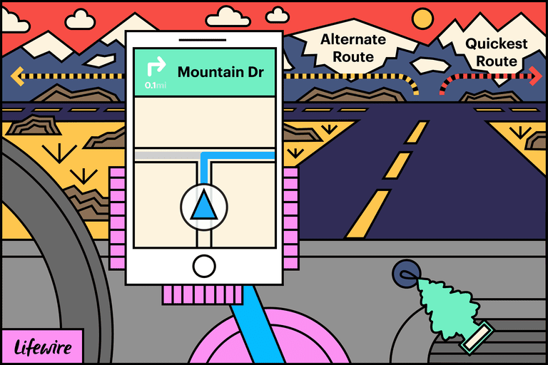 Illustration of a mobile phone in a car showing Alternate and Quickest Routes