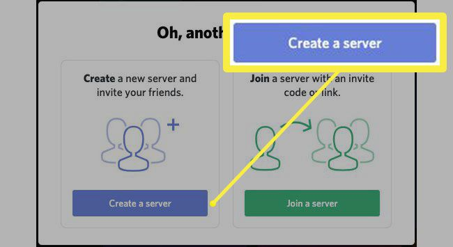 The button to create a new server on Discord.