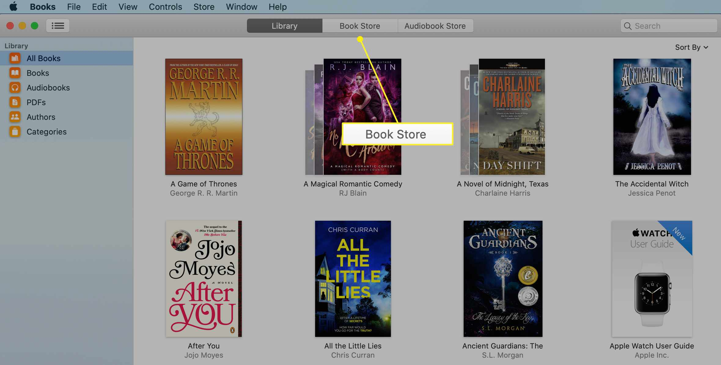 Mac Books app with Book Store tab selected