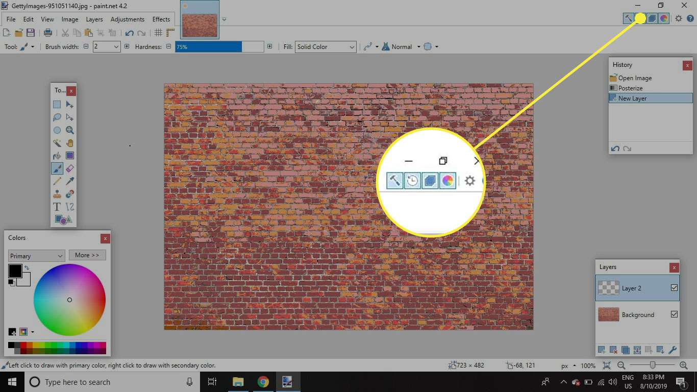 A screenshot of Paint.NET with the Layers button highlighted