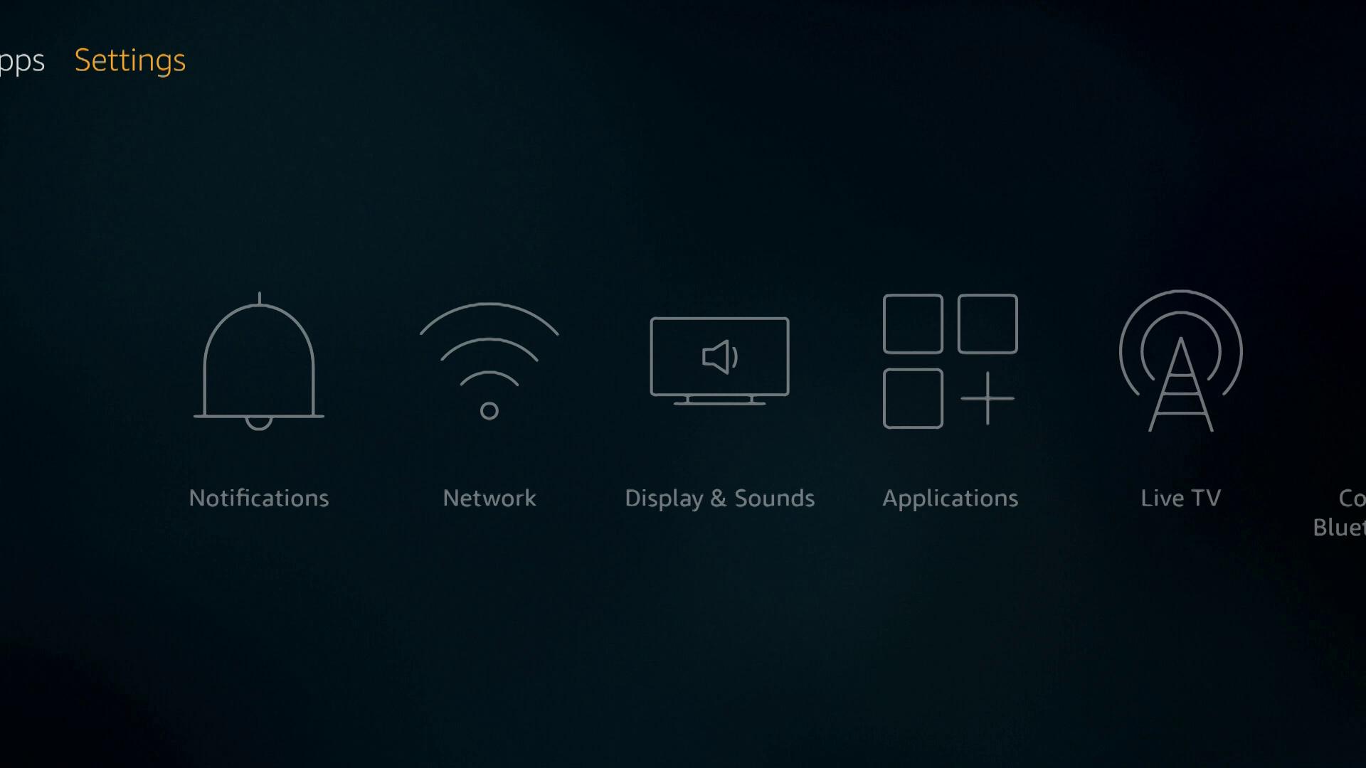 A screenshot of Firestick settings.