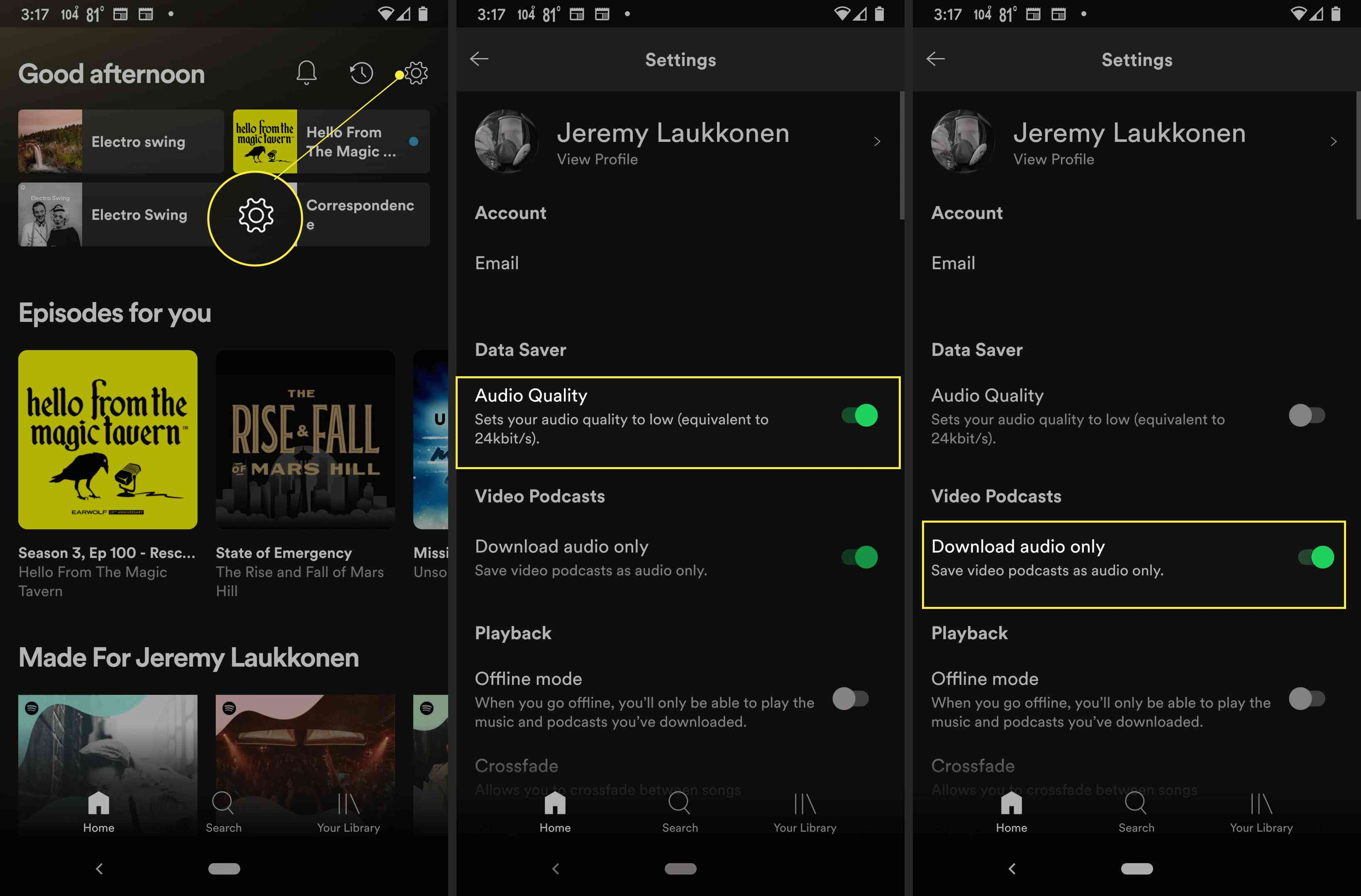 Spotify app with Settings gear, Audio Quality toggle, and Download audio only toggle highlighted