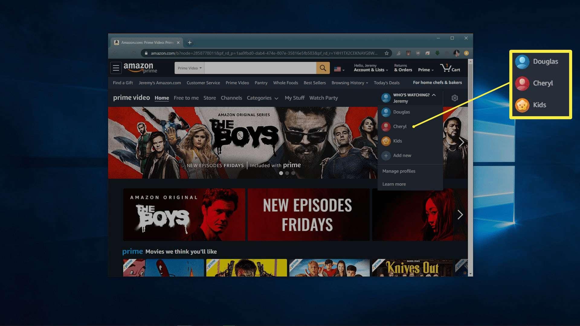 Selecting profiles on Amazon Prime Video service.