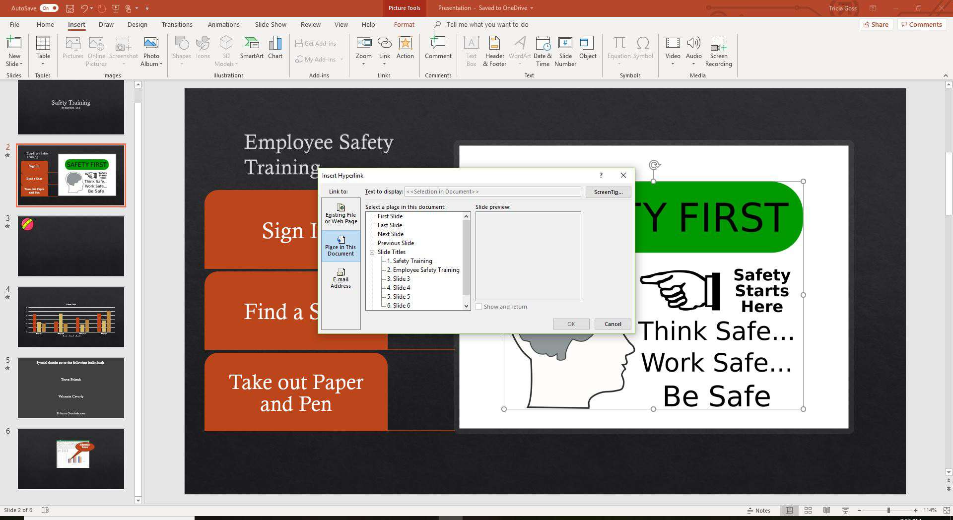 A screenshot of linking to another slide in PowerPoint.