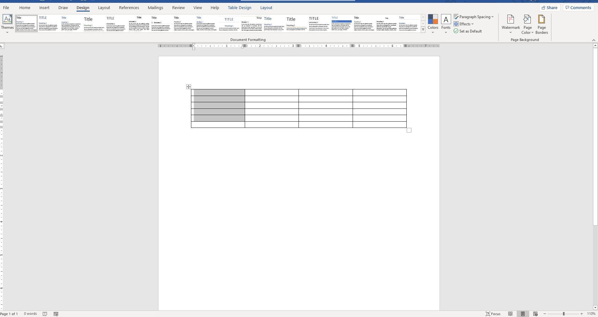 Screenshot of Design tab