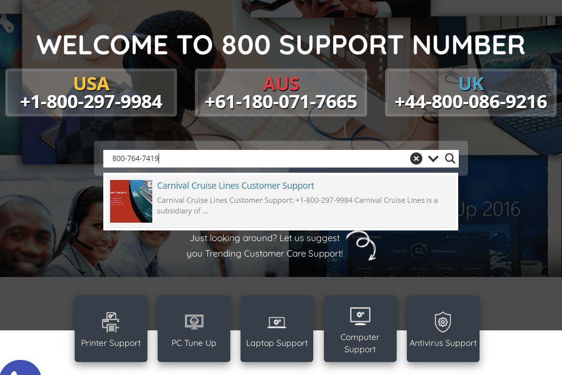 800customercarenumber.com result for an 800 number reverse search