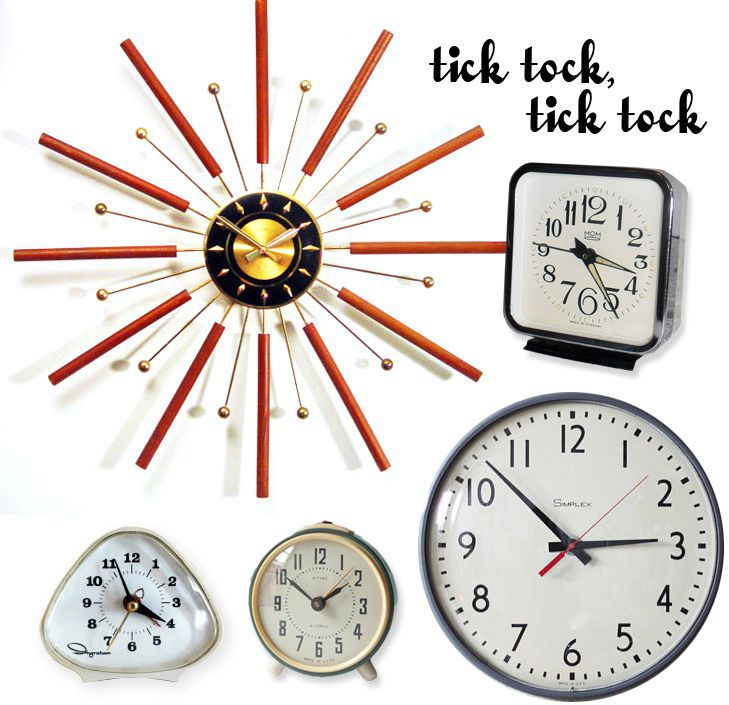 Various clocks and the words tick tock tick tock