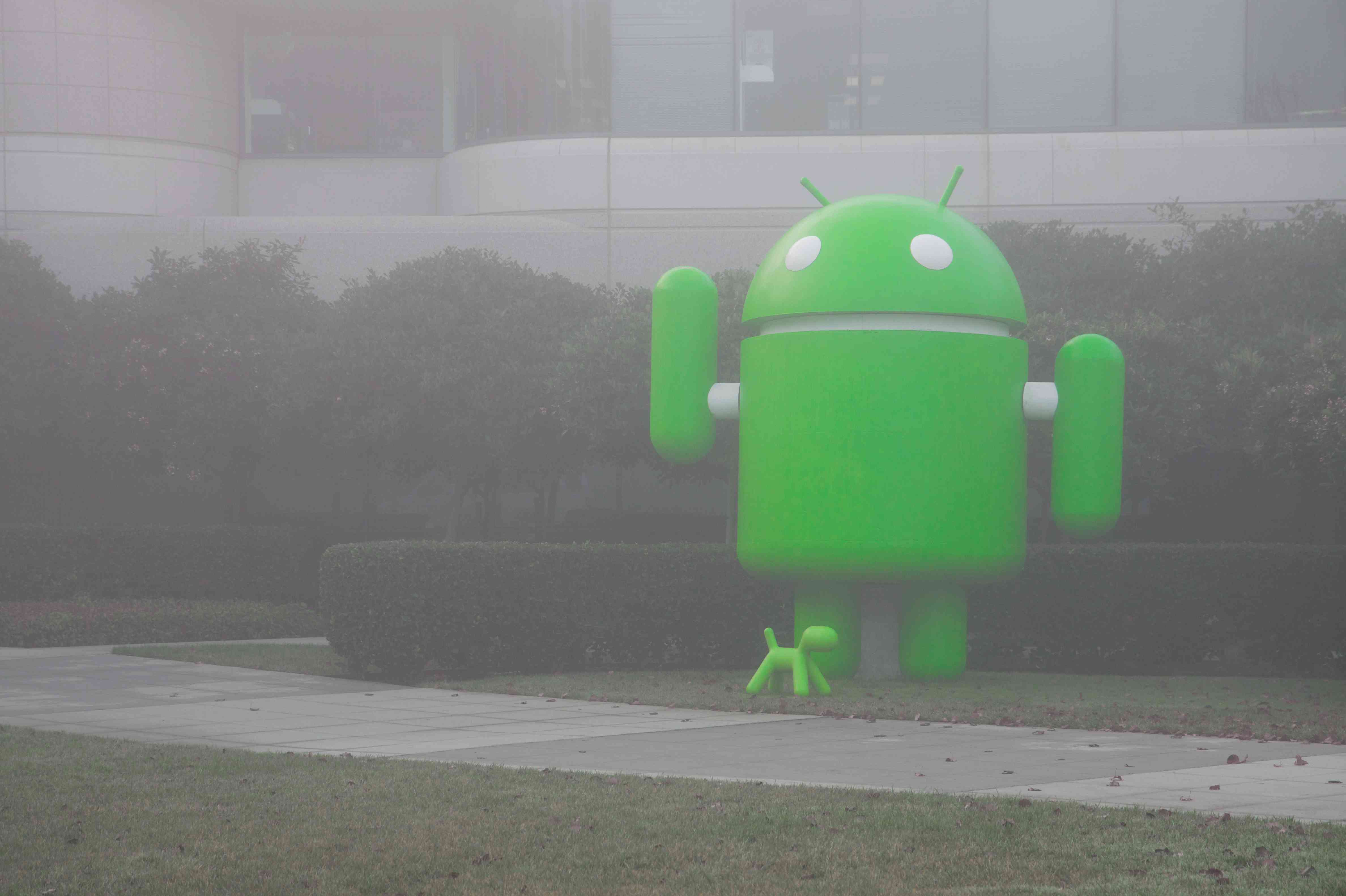 Android statue in mist
