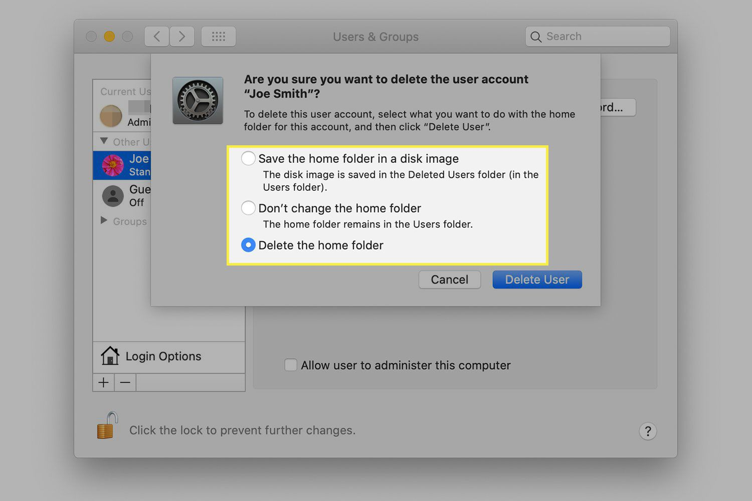 A screenshot of the Delete User confirmation window in macOS with the options highlighted