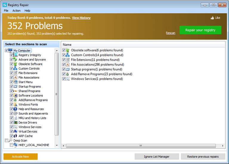 Screenshot of Glarysoft's Registry Repair v5