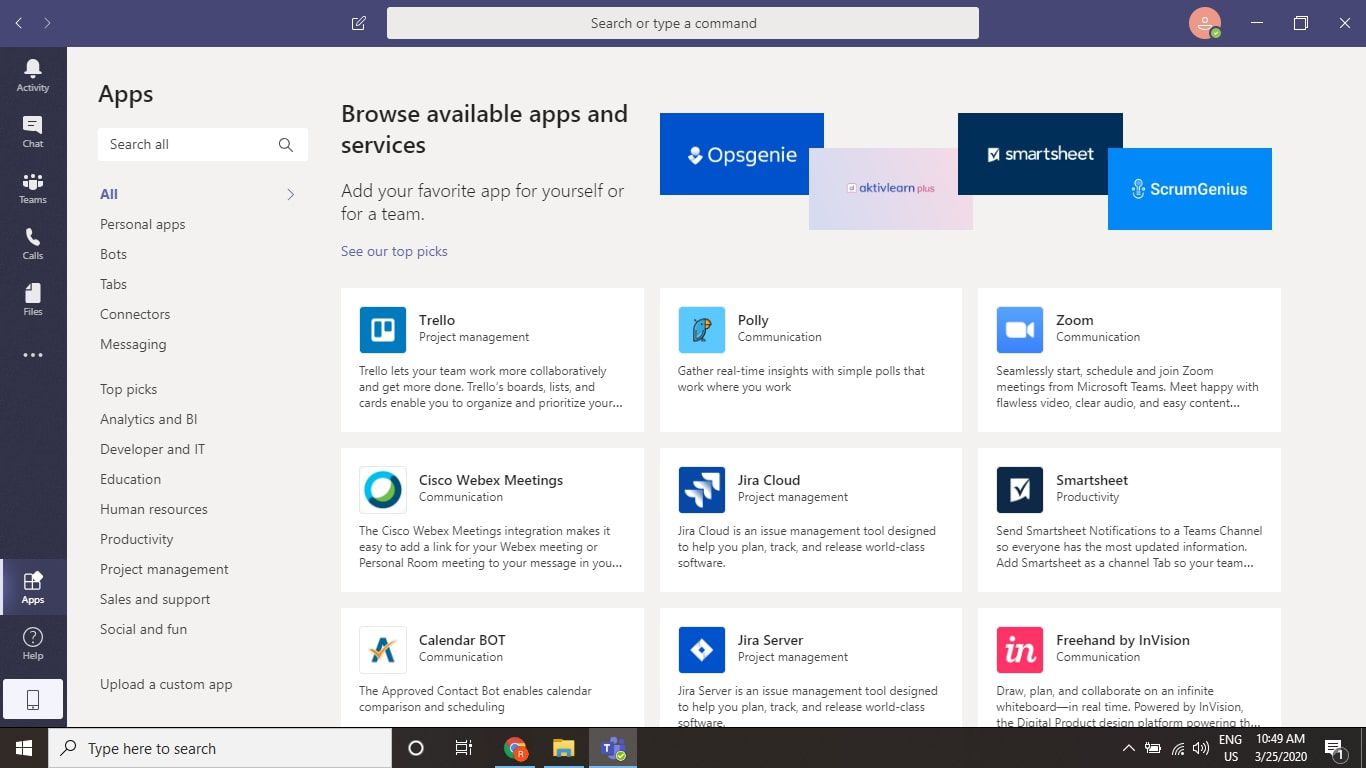 Third party app integrations in Microsoft Teams