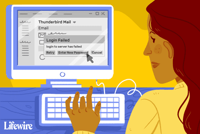 A person clicking Enter New Password on Thunderbird Mail