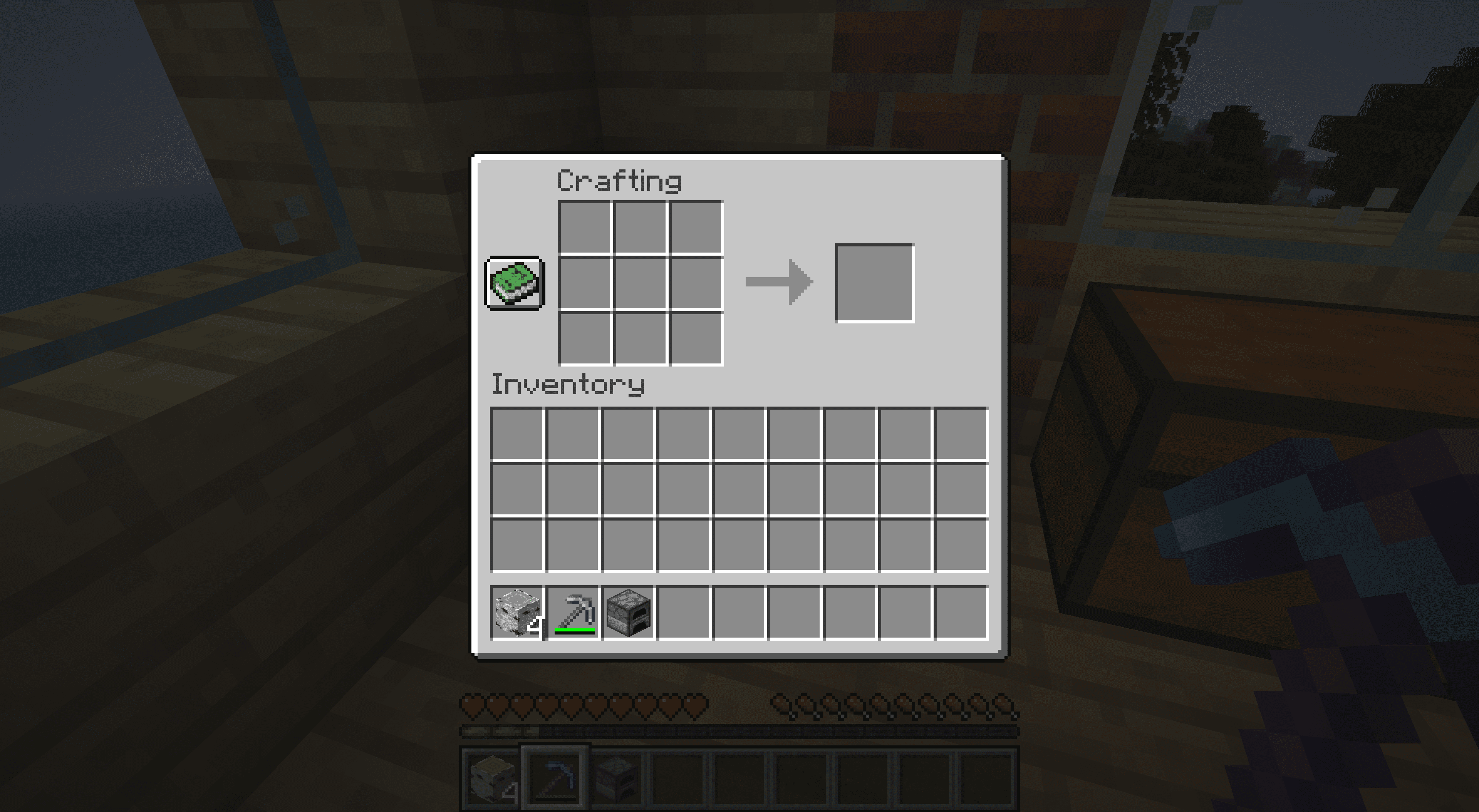 The crating table interface in Minecraft.