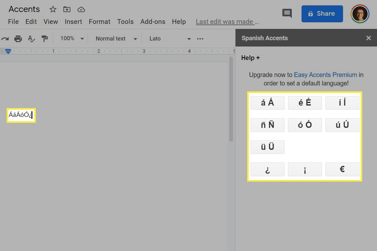 Spanish accents in a Google Docs add-on.