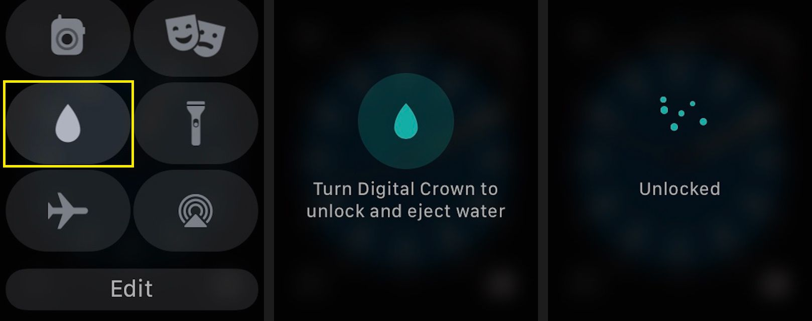 Tap the Water Lock icon (a drop of water) to place the Watch into Water Lock mode when you're swimming.