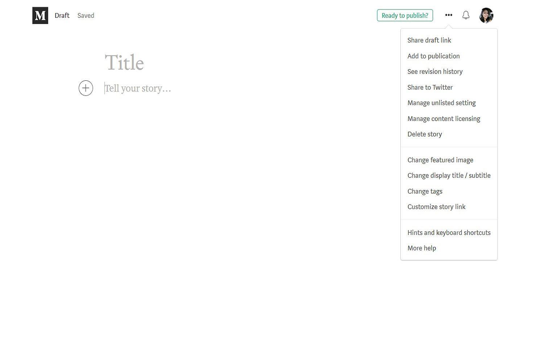 Desktop site screenshot of Medium's blog post draft dashboard and blog post settings menu.