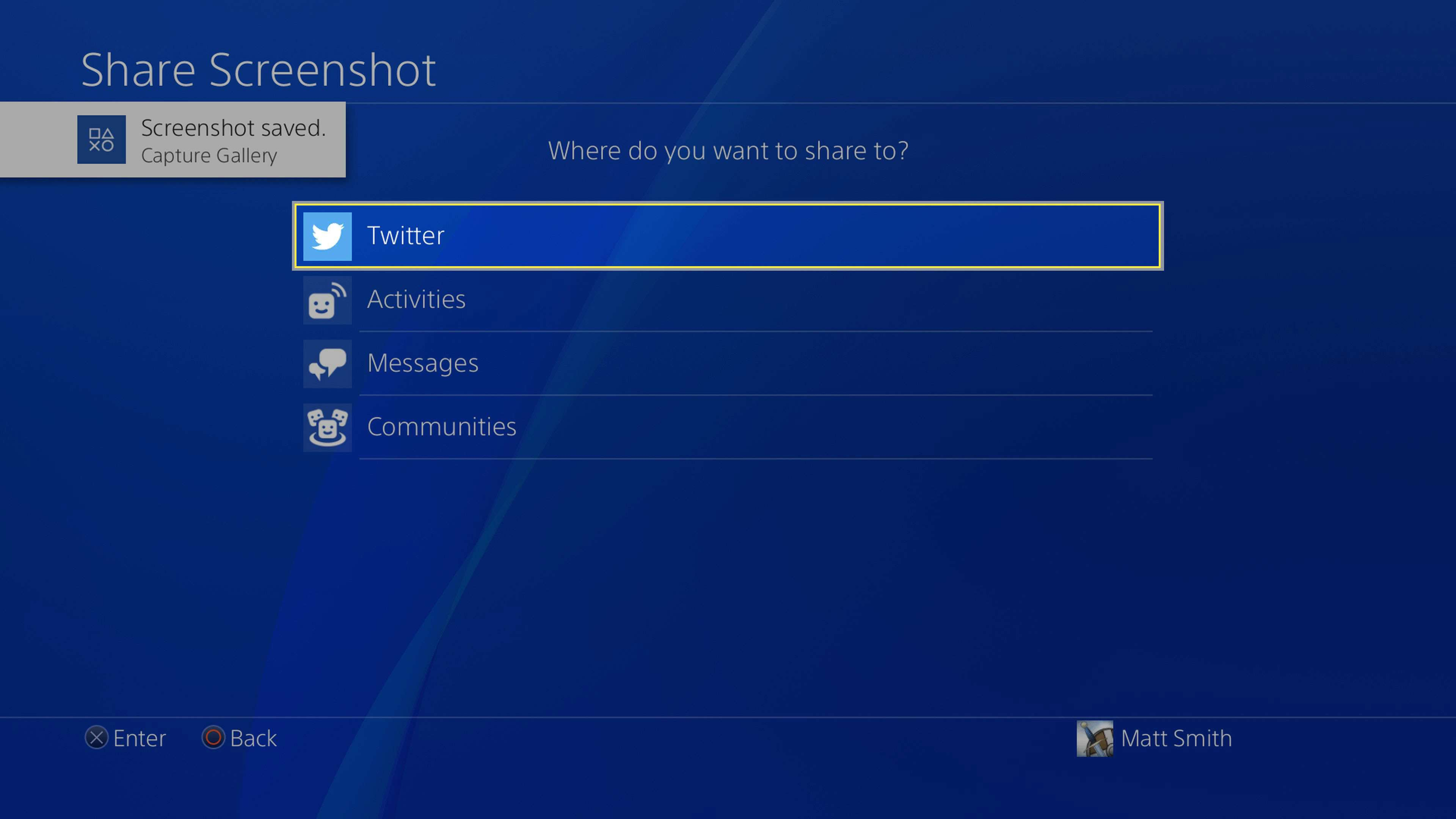 PlayStation 4 Share Screenshot menu open with Twitter selected.