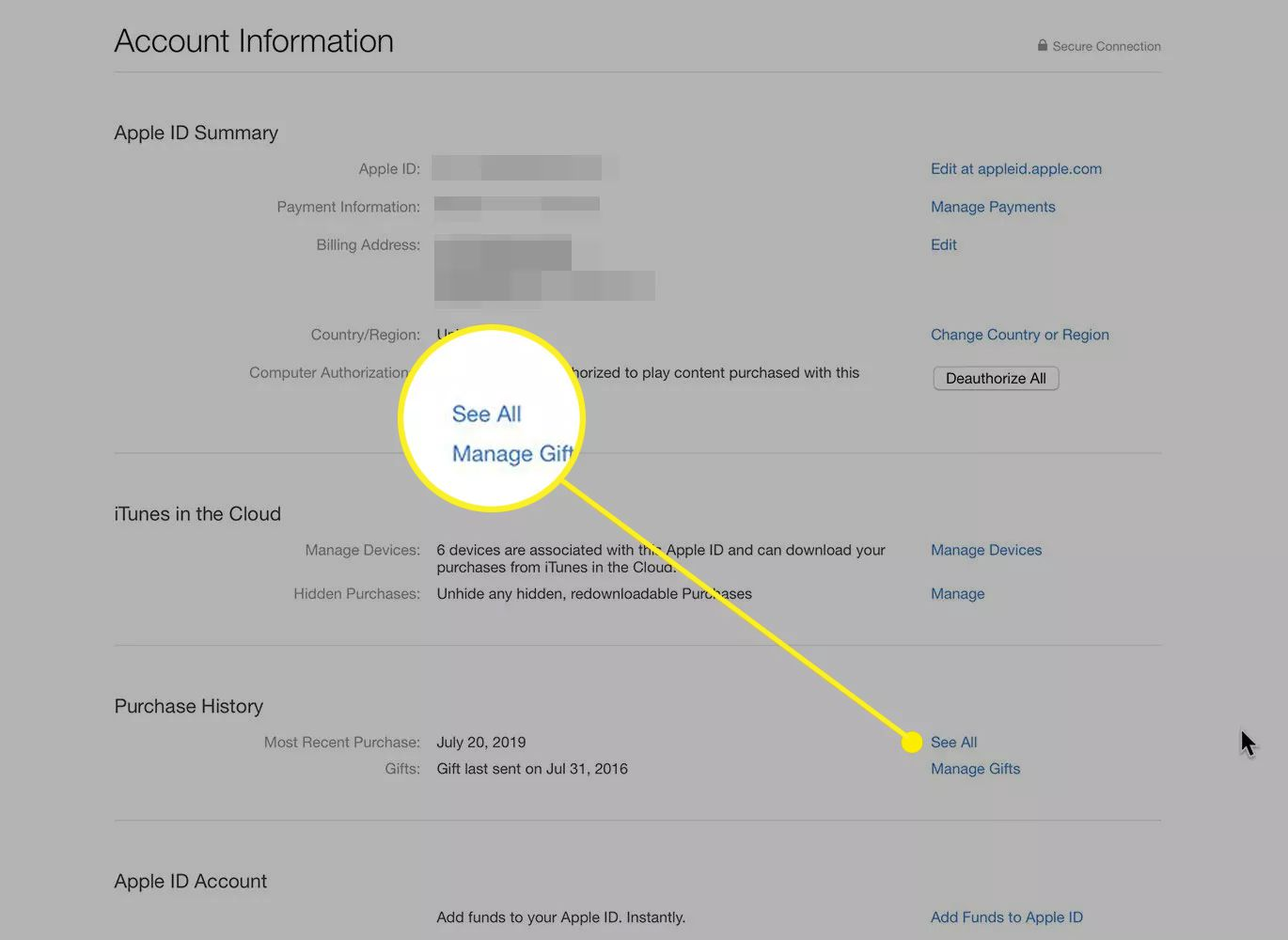 Account Information page in Apple ID with the See All button highlighted