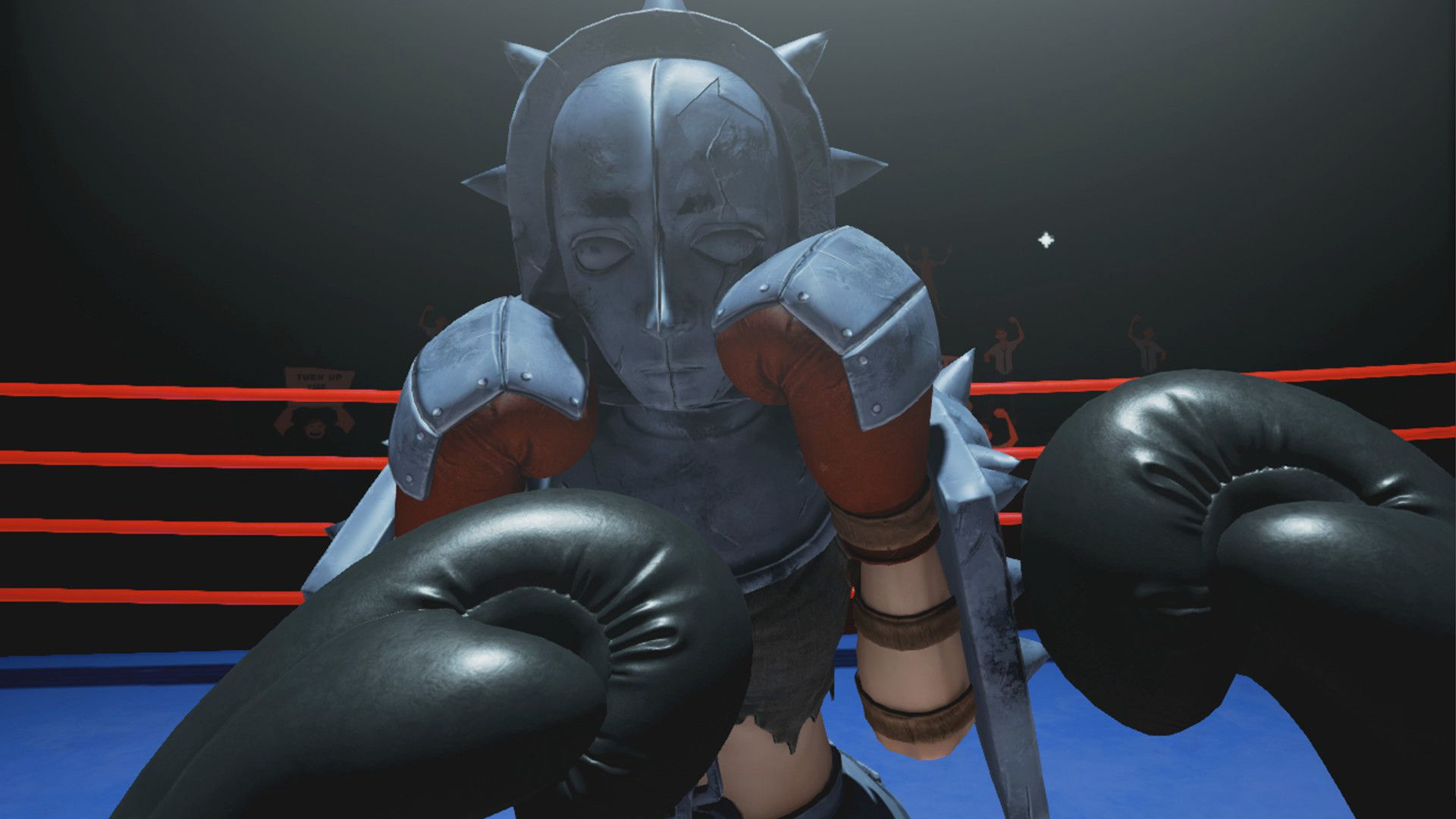 Black boxing gloves hover in front of a figure wearing strange grey armor inside a boxing ring.