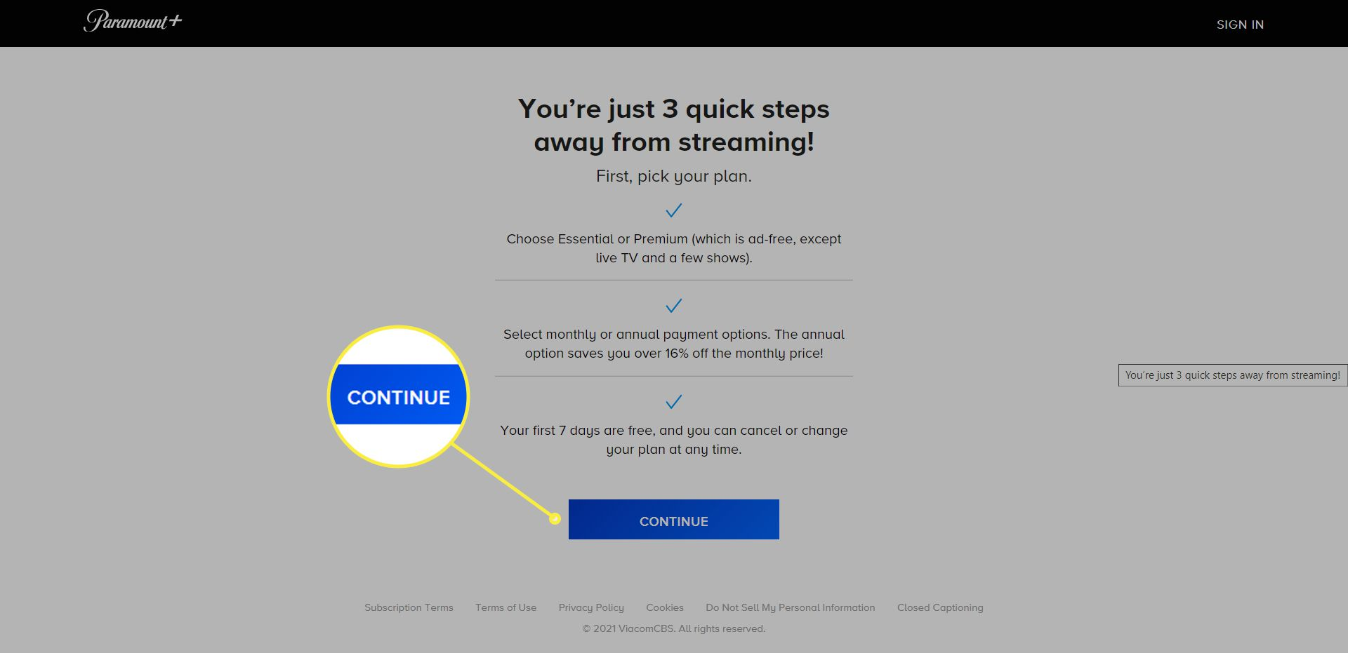 The Paramount+ signup process. The 'Continue' button is highlighted.