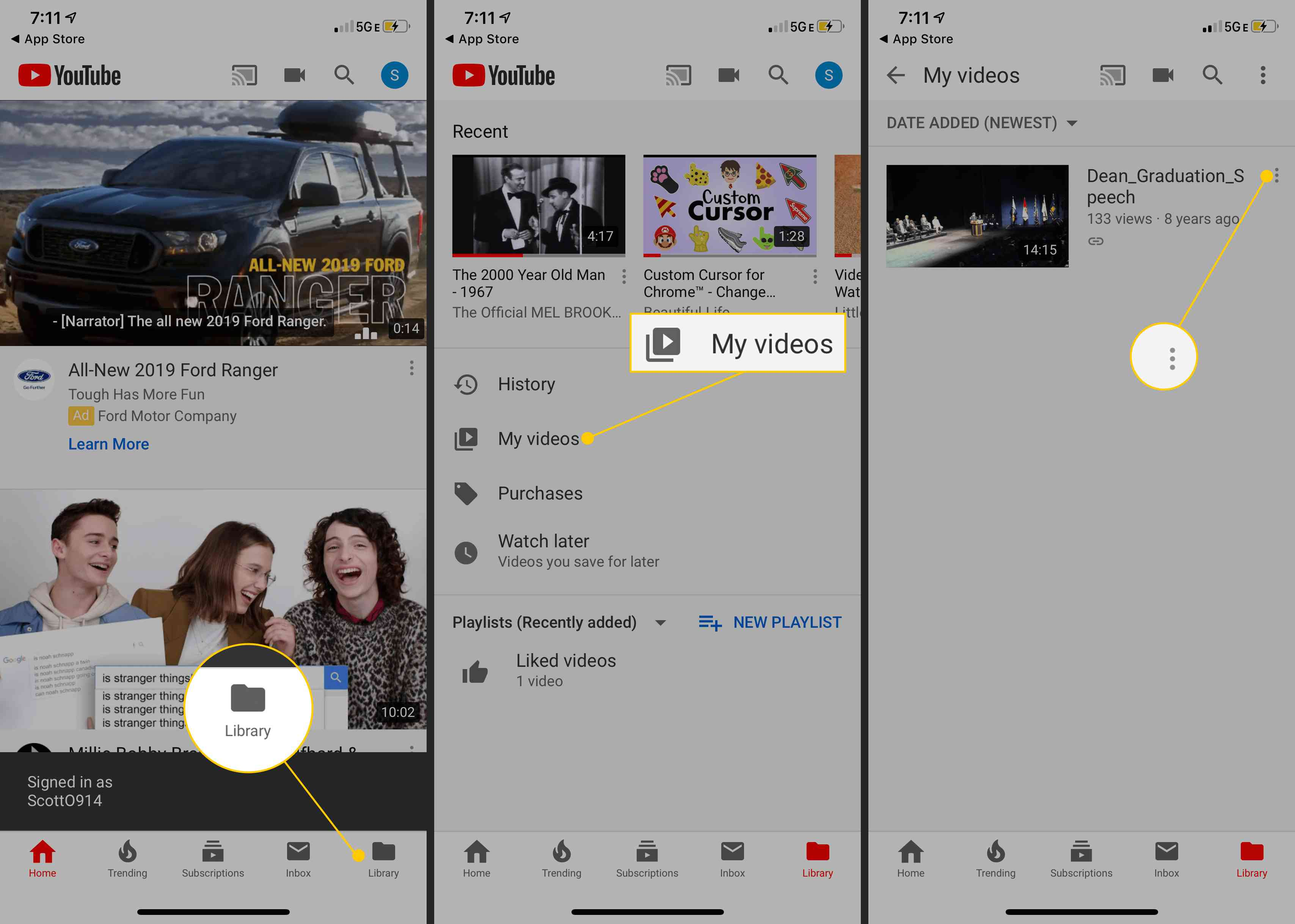 Library button, My videos icon, three dot menu in YouTube mobile