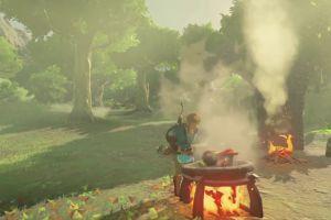 Link cooking in The Legend of Zelda: Breath of the Wild