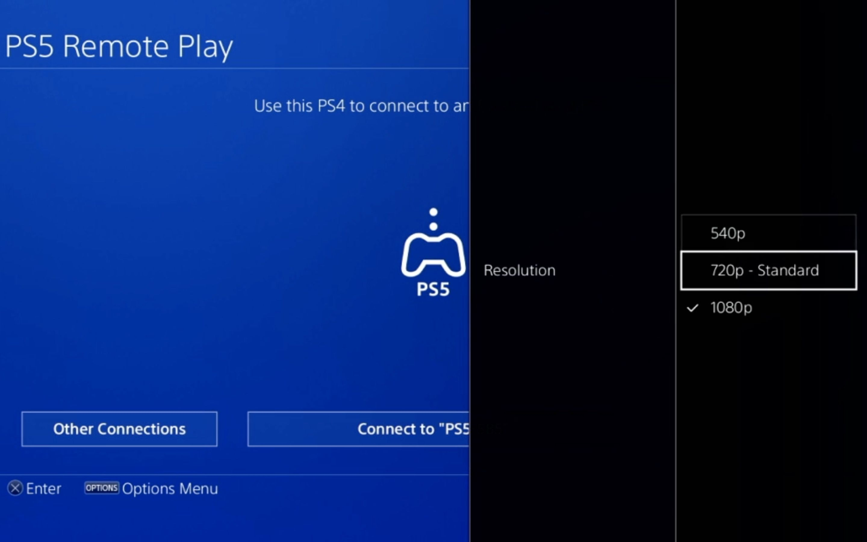 Resolution options for PS5 Remote Play