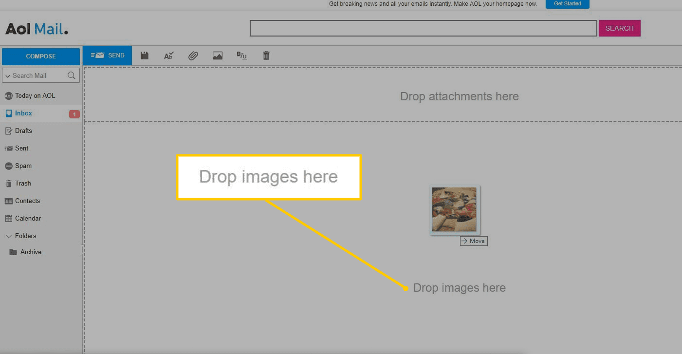 Drop images here in AOL Mail