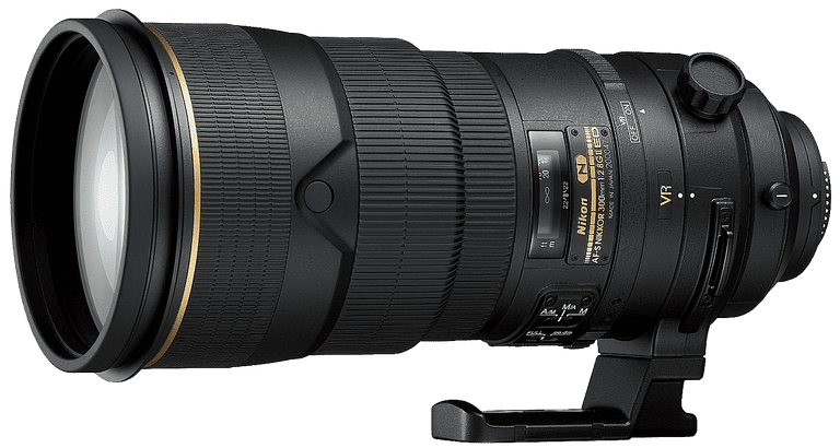 Nikon zoom lens against grey background.