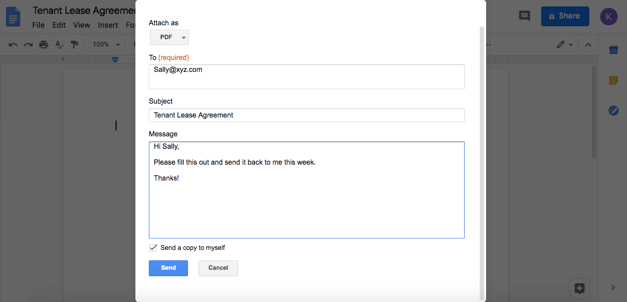 Email as PDF options in Google Docs.