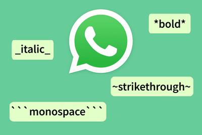 WhatsApp text formatting shortcuts