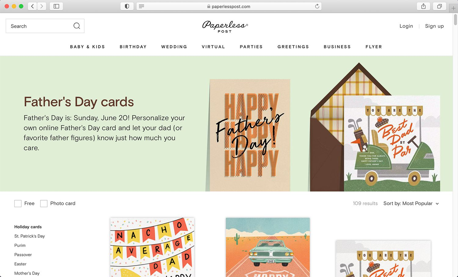 Paperless Post e-invite and e-card service and website