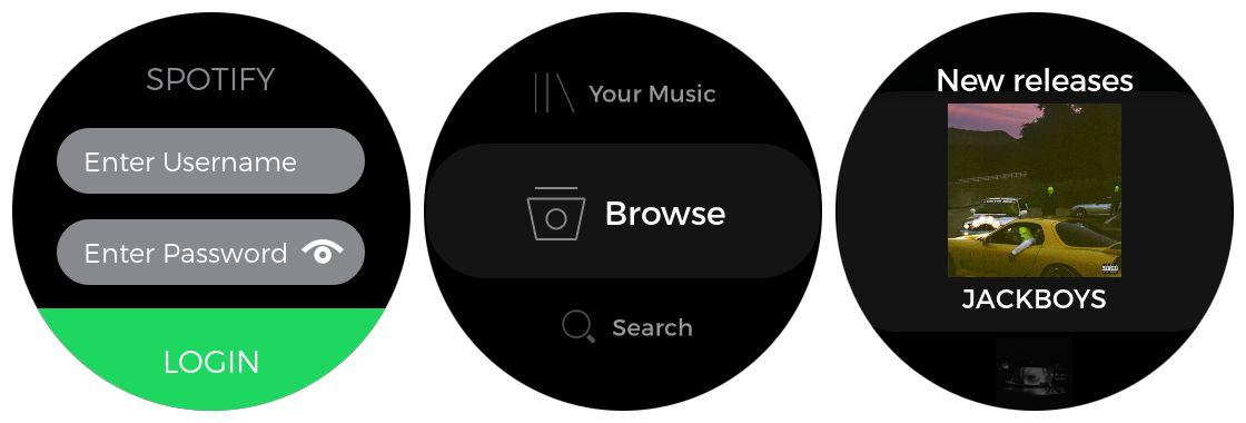 Samsung Gear S3 Spotify app