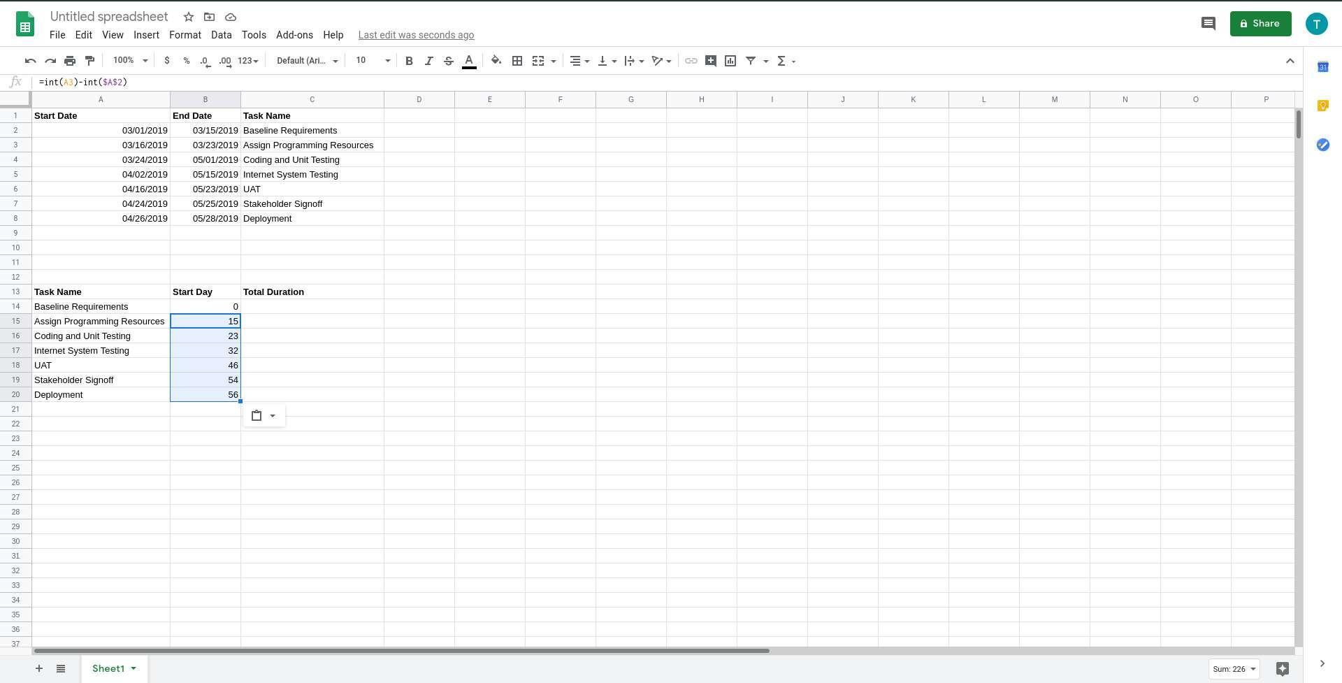 Google Sheets copy start day formula across cells