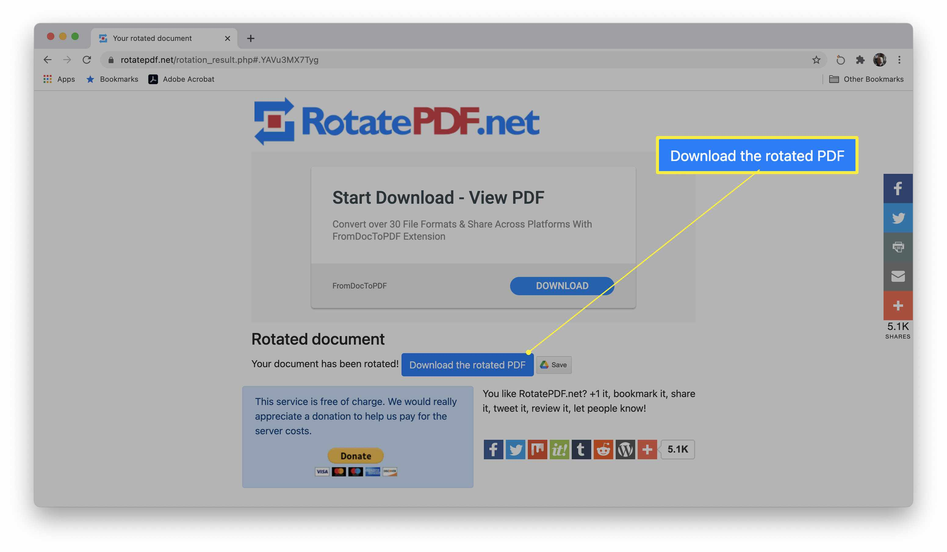 RotatePDF website with Download the rotated PDF button highlighted