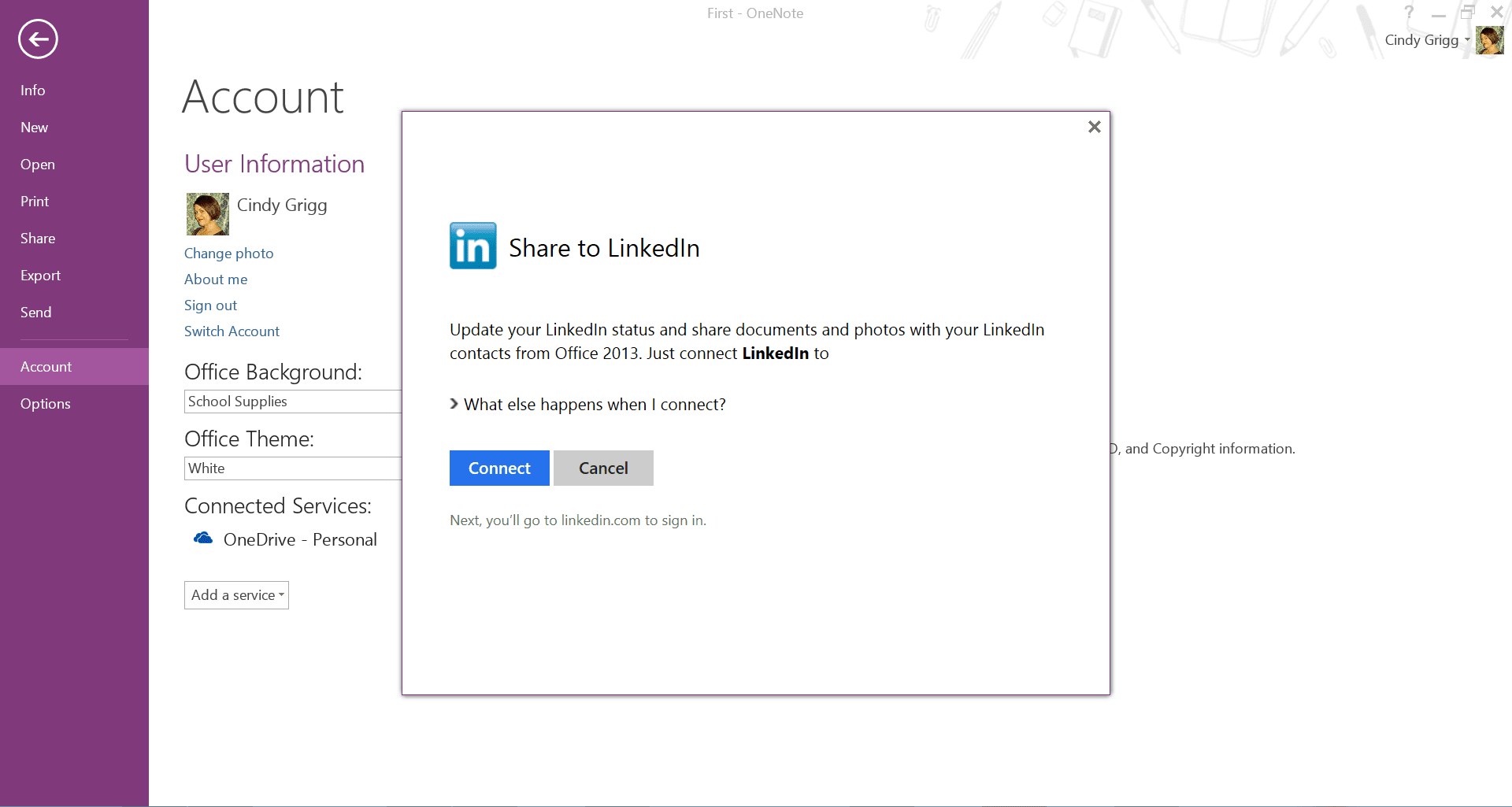 Share OneNote to LinkedIn