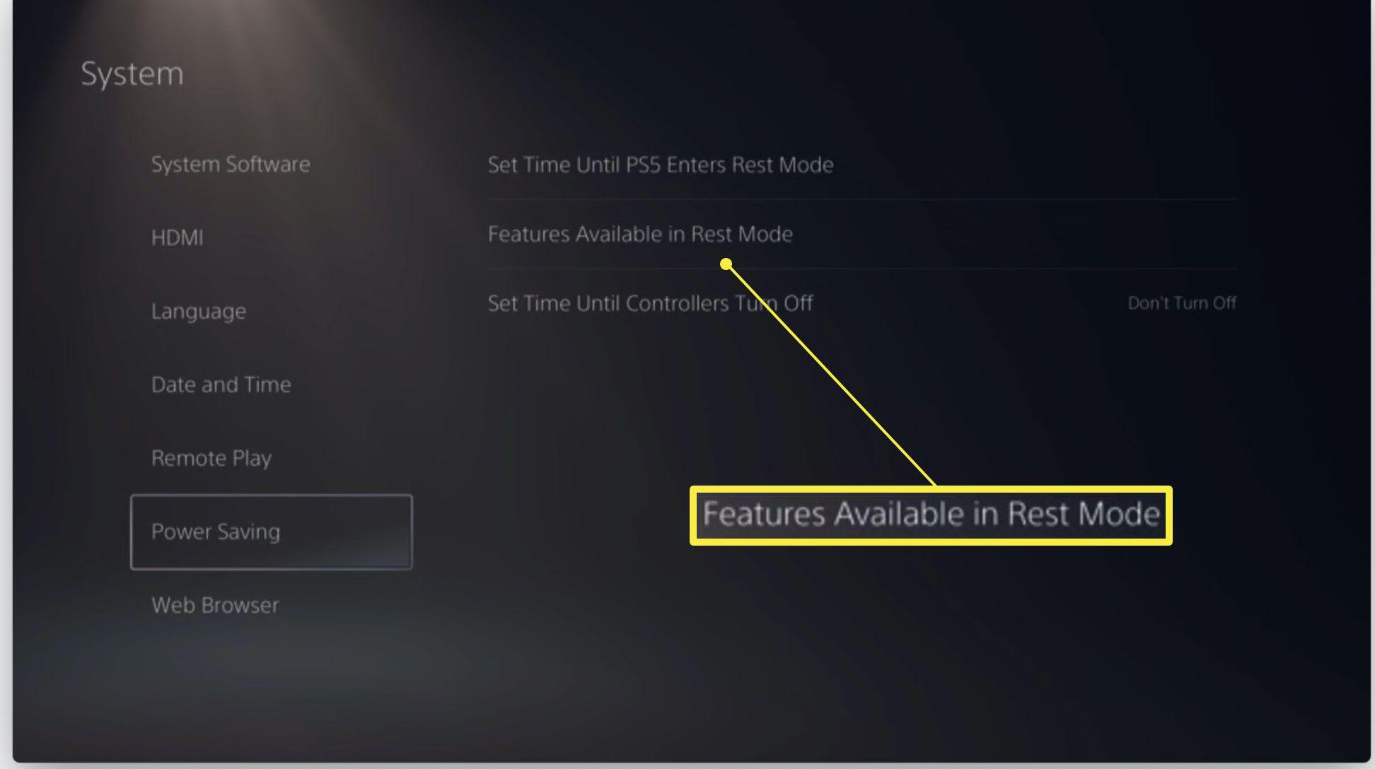 PlayStation 5 Power Saving settings highlighted