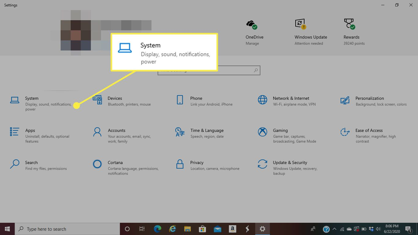 The System heading in Windows 10 settings