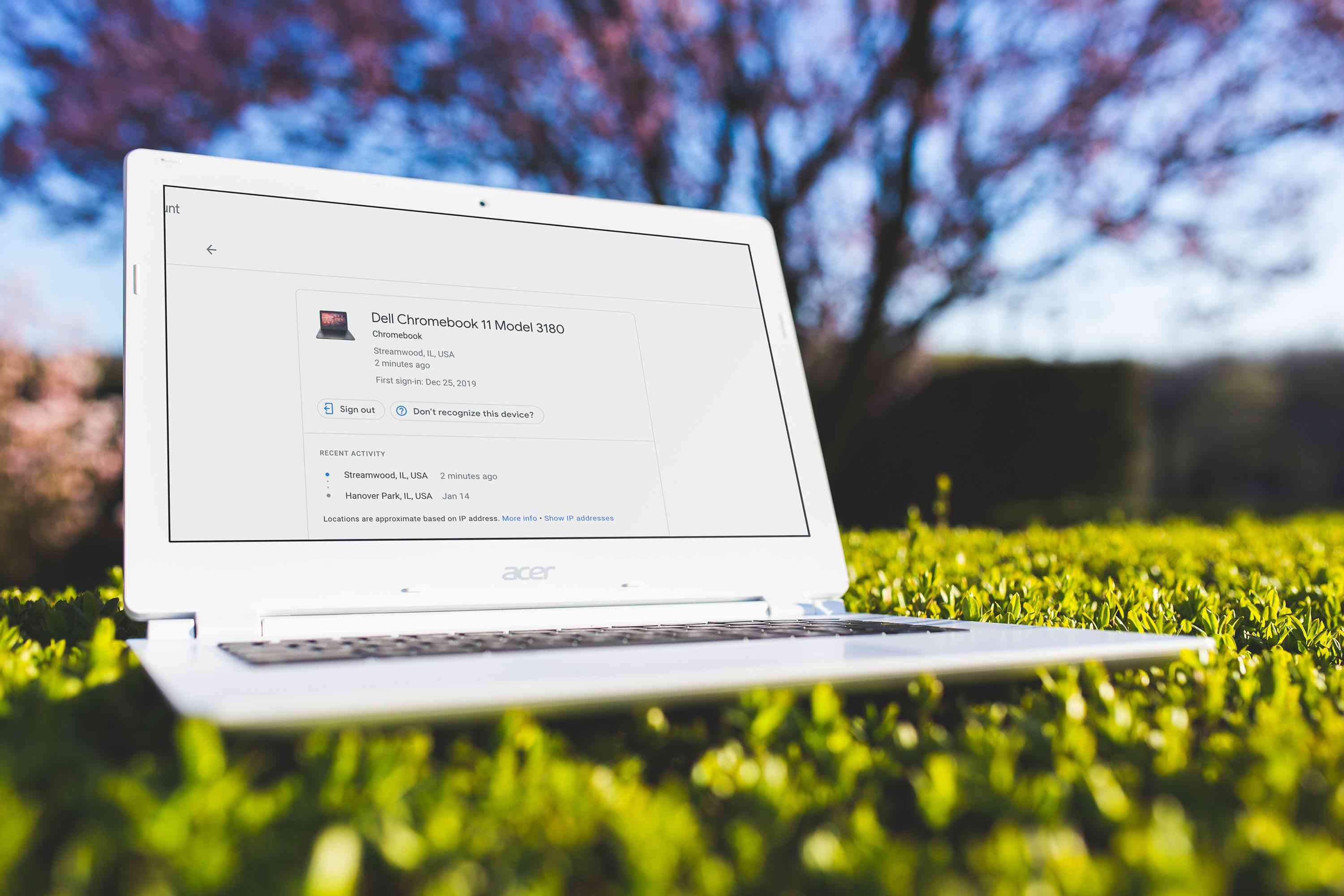 Laptop outside with a Chromebook manage screen