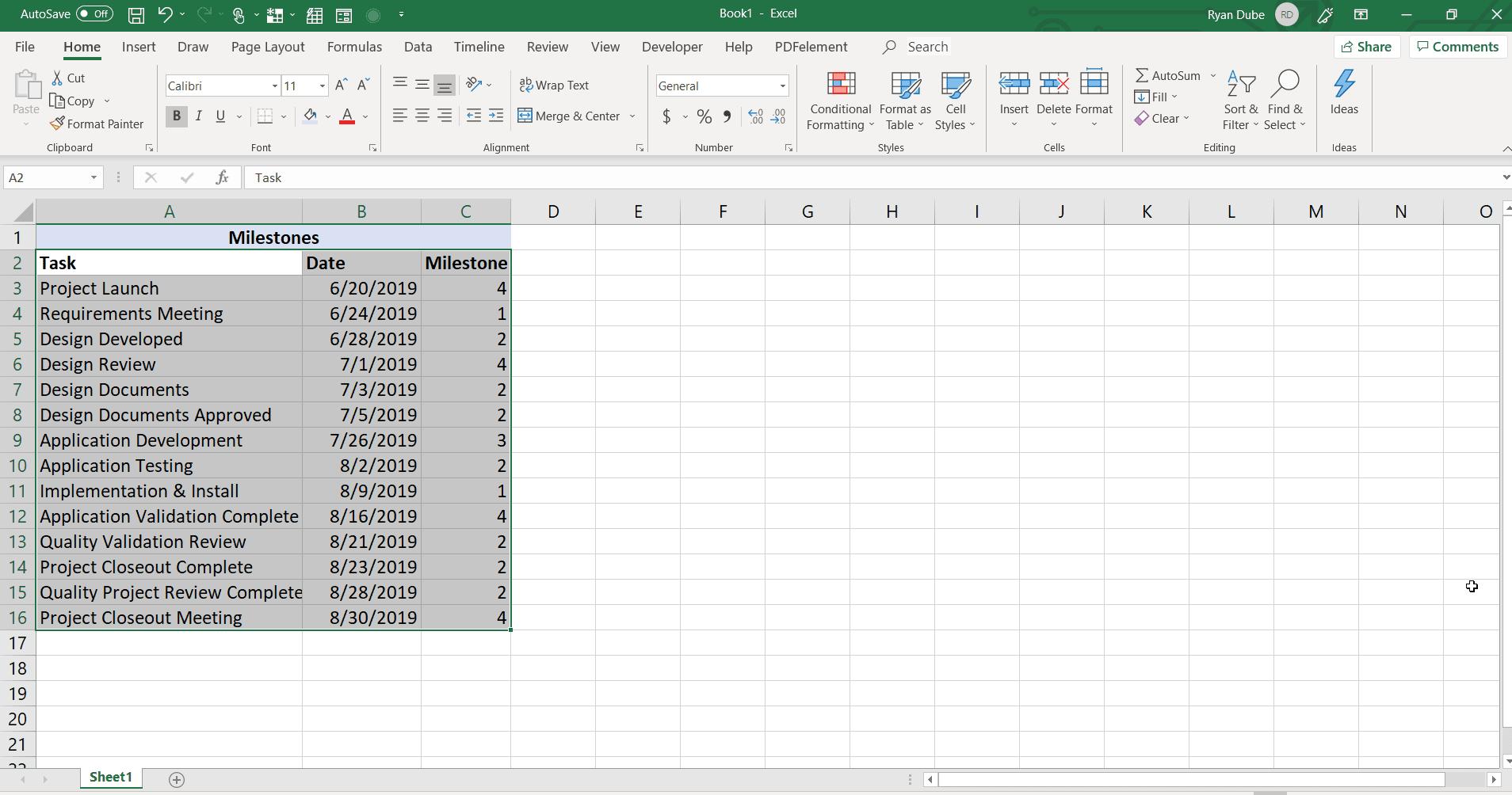 Screenshot of a timeline worksheet