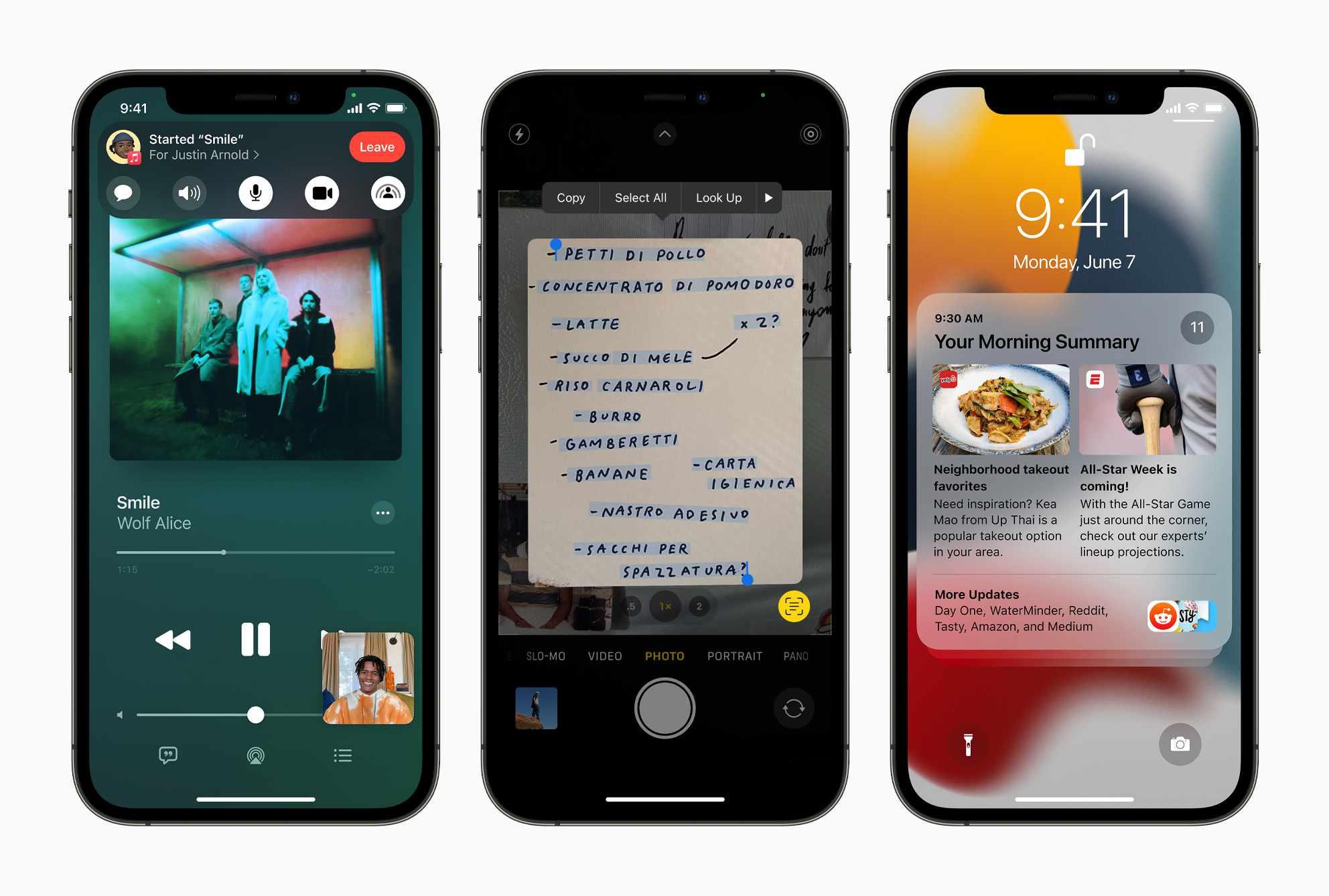 Screenshots of iOS 15