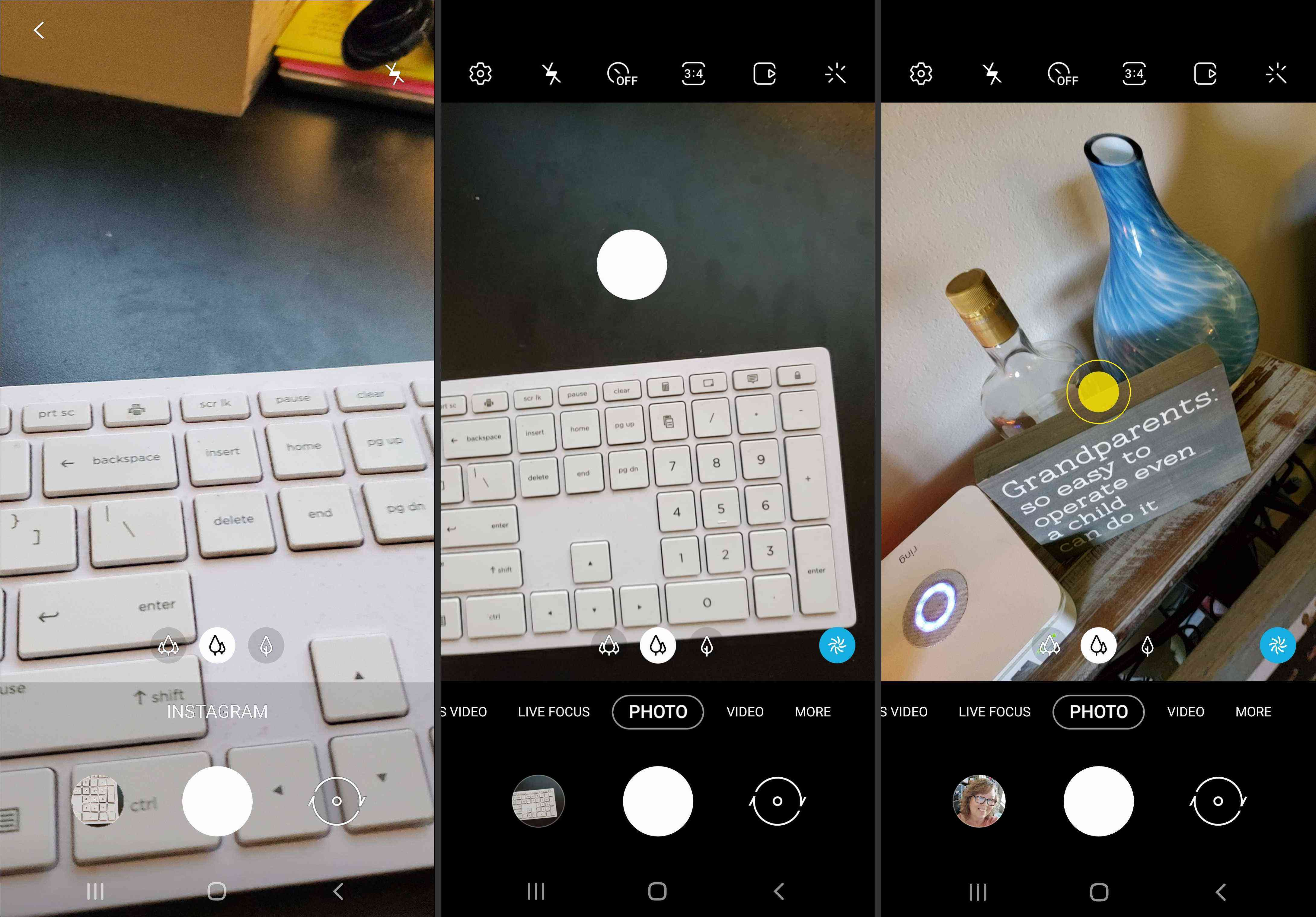 Screenshots of the Instagram option, a relocated shutter button, and shot assistance in Galaxy Note 10 & 10+.