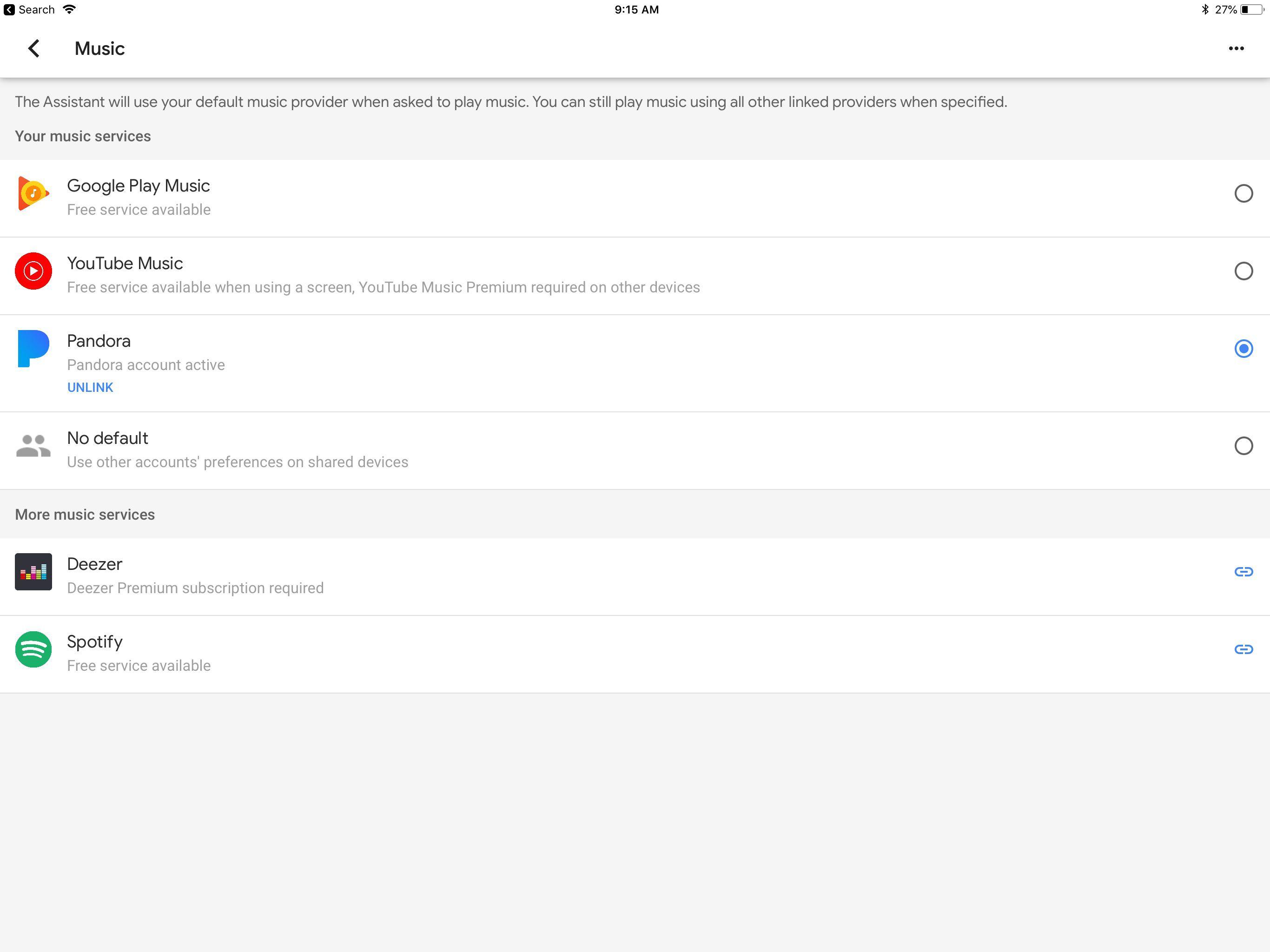 A screenshot of Google Home music settings