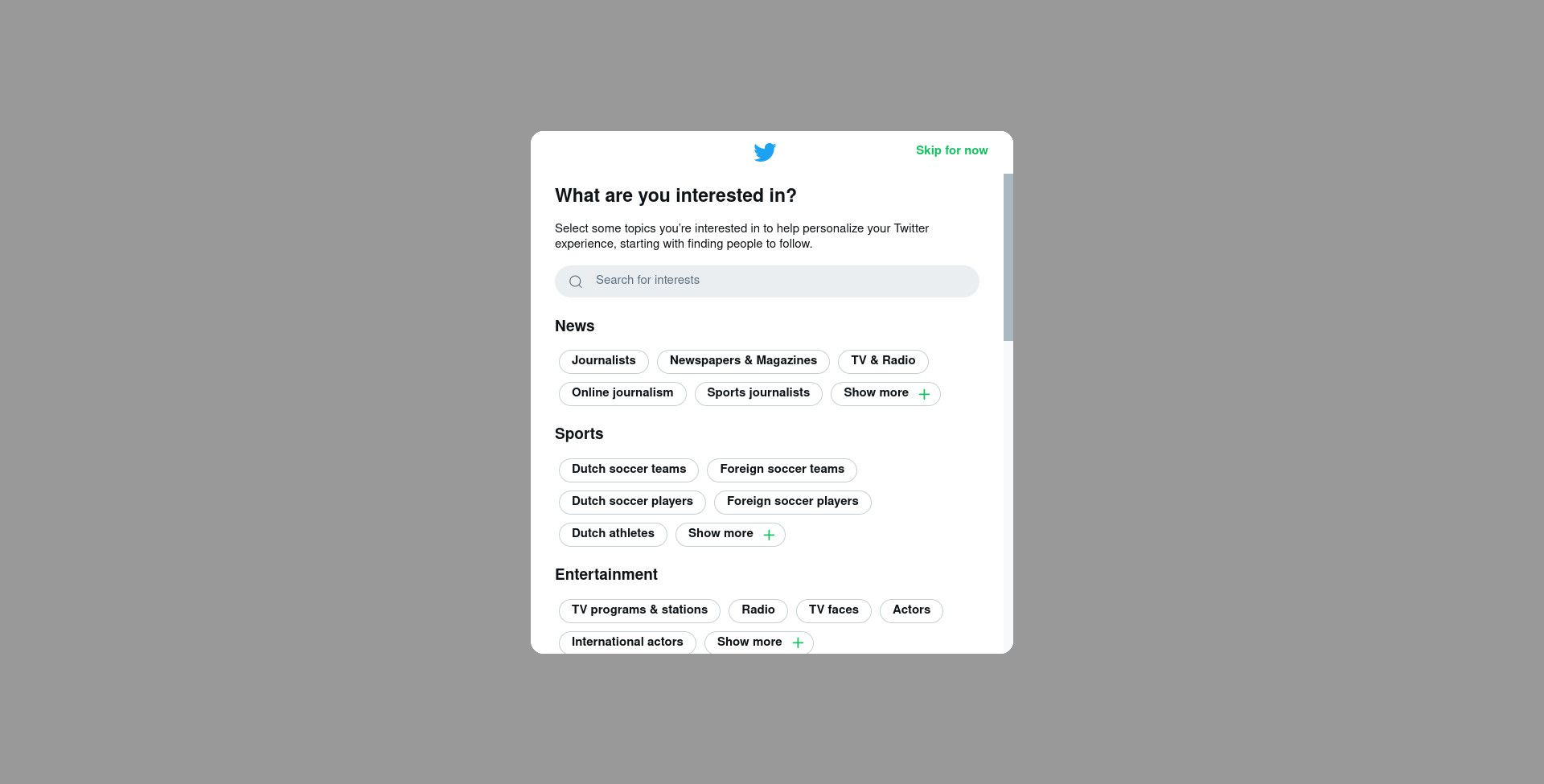 Twitter sign up choose interests