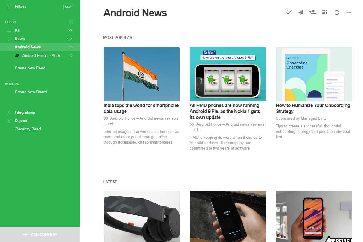 Add content button in Feedly
