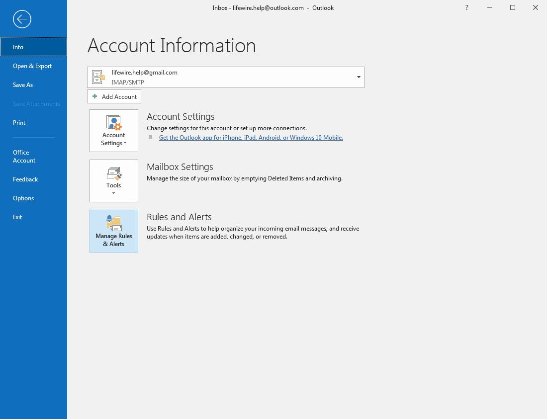 Outlook 2016 Manage Rules & Alerts button selected