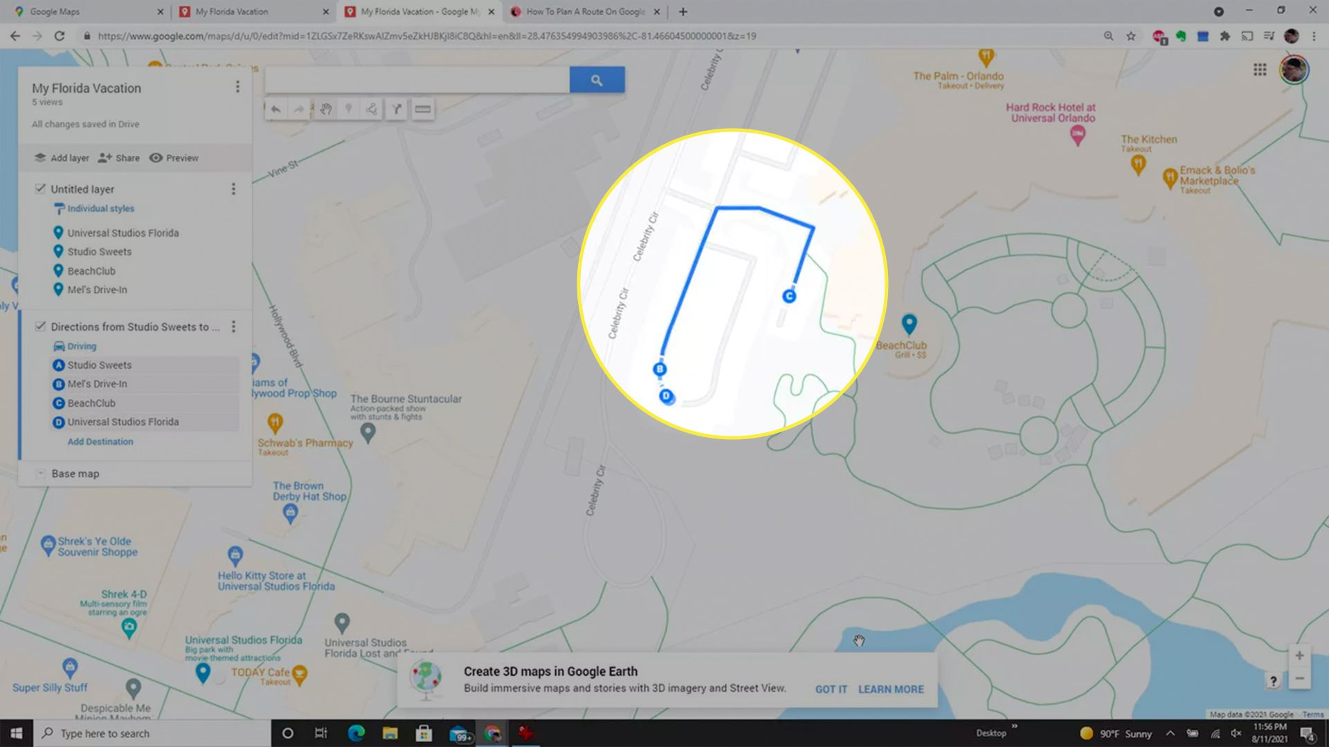 A completed driving route in a customized Google Maps map.