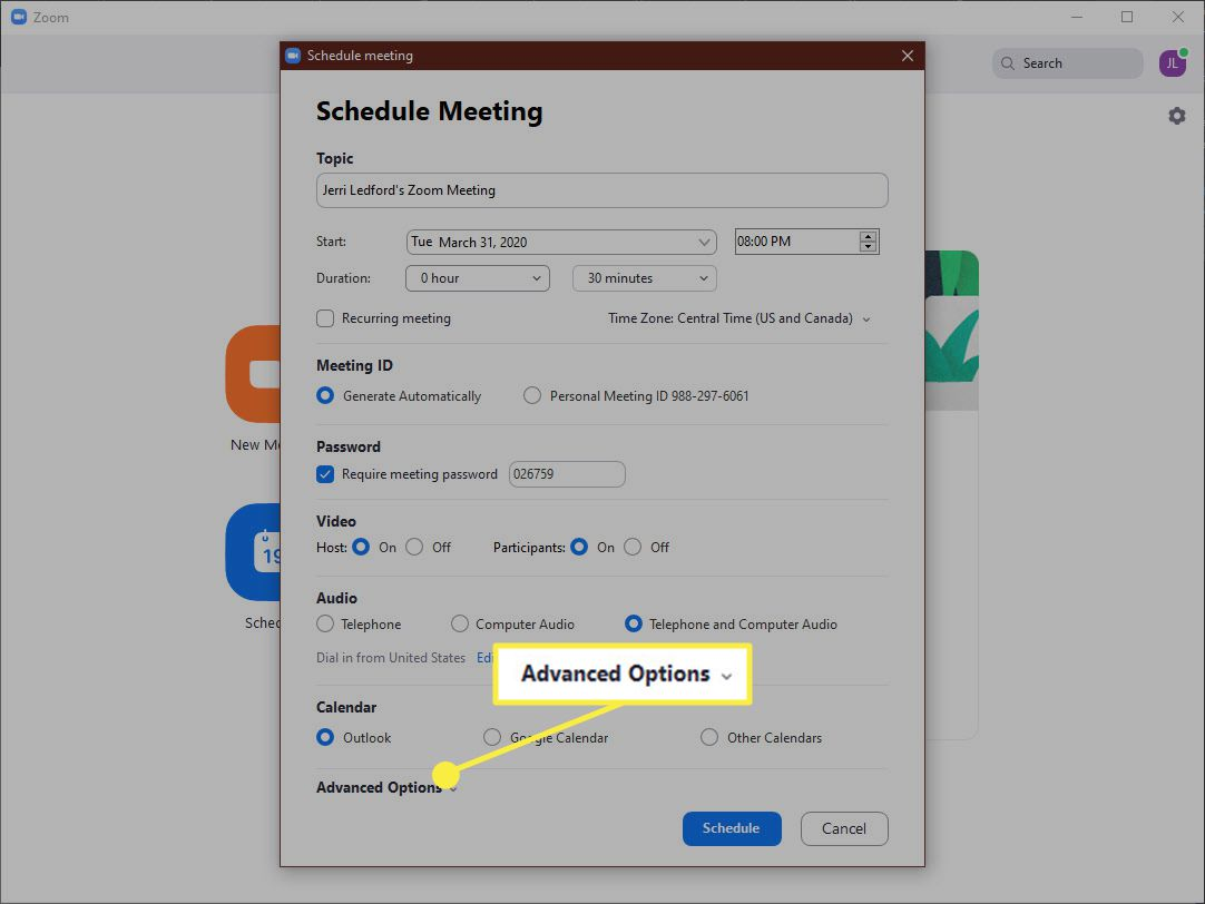 Screenshot of the Advanced Options link in the Schedule meeting dialog box of the Zoom App.