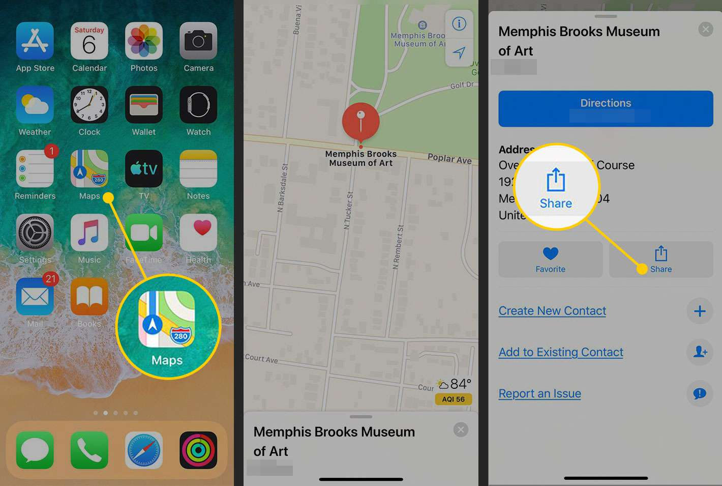 The Maps app for iOS with the Share button highlighted