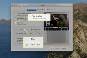 Tap to click deselected and click intensity options highlighted from macOS Trackpad settings